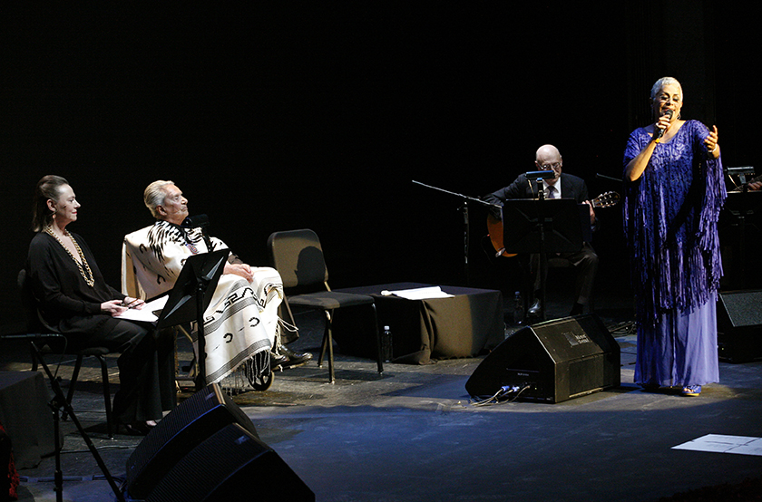 "Legendary Costa Rican singer Chavela Vargas listens during the launch of her record ""La Luna Grande"" in downtown Mexico City"